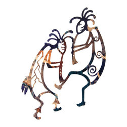 """Lazart - Southwest Kokopelli Flute Player Metal Wall Art 16"""" - Southwest  Kokopelli  Flute  Player  Metal  Wall  Art  -  16          Delightfully  playful  and  joyous,  our  Southwest  Kokopelli  Flute  Player  metal  wall  art  has  a  fusion  of  subtle  color  with  a  warm  golden  sheen  adding  energy  and  vibrance  to  the  kokopelli  flute  music  being  played.  Designed  with  an  elegant  simplicity  in  Native  American  style  and  measuring  16  H,  this  artful  southwestern  metal  wall  art  adds  a  cheerful  note  to  any  decor."""