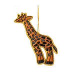 "Sitara Collections - Handcrafted Zardozi Ornament, Giraffe - It's easy to ""spot"" why our Giraffe is a Customer Favorite. this long-necked cutie has an individually designed pattern and hand-embroidered spots that guarantee you have a truly one-of-a-kind ornament for Your Christmas tree, a child's room, or anywhere else you need an instant day brightener."