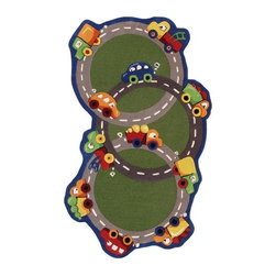 Nuloom - nuLOOM Hand-carved Kids Green Cars & Trucks Roadway Wool Rug (3' x 5') - Fun playful pattern and bold colors makes up this fabulous Kids Green Cars & Trucks Roadway rug. This rug is hand-carved for a bold and unique textured effect featuring shades of yellow,orange,beige,red,green,blue,tan,ivory and brown.