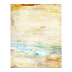 Seascape Unframed Giclee with Marble Glaze Finish - Soft watercolor hues depict a stylized balmy day in Seascape, a lovely giclee print with on-trend tones of soft gold and turquoise coming together into a minimally-indicated waterside scene.  Perfect for the transitional beach house or for any updated home's wall space, this rectangular print holds attractive depth and perpetual interest for the decorative panoramas of your space.