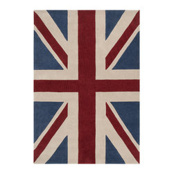 Union Classic Rug - Nothing says high fashion like a bit of Mod-inspired Anglophilia. This Union Jack-printed rug is a fresh choice to embrace Mod style or stir up your rustic mix.