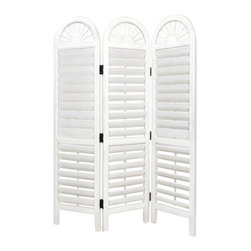 Wayborn - Wayborn Chinese Oakwood White Venetian Room Divider in Whitewash - Wayborn - Room Dividers - 5300 -