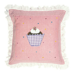 Wingreen - Appliqued Cushion Cover -  Gingerbread - Our Gingerbread Cushion Cover is appliqued and embroidered with a yummy cupcake and a dusting of multi-coloured dots.  Finished with a rose mini-gingham border and a pretty frill trim.