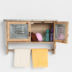 Lakeside Reclaimed Wood Towel Shelf - No medicine cabinet? This reclaimed wood shelf and towel rack is ideal for hiding away bathroom essentials and displaying hand towels.