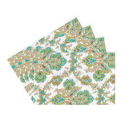 Enchante Accessories Inc - Raymond Waites Reversible Placemats - Set of 4 (Beige/Green Flowers) - Premium quality 100% cotton table linen with finished seamExpertly tailored with high quality cotton linenMachine wash in cold with like colors, colors do not bleedFloral patterns with elegant vintage styleSet of 4 Cloth PlacematsElegant and functional, these cloth placmats serve to dress a table. Use on dining room tables, banquet tables and restaurants. We carefully select high-quality fabrics and threads to create every table linen. Made from natural materials and dip-dyed with non-toxic dye, the reactive dyeing process makes the table linens a beautiful and solid color while maintaining their natural softness.These gorgeous floral prints invite lively conversations for brunch, lunch, garden parties and casual dining. Made in India of 100% cotton, in deep colors as shown, these exciting placemats are beautifully finished with fine printed elegant patterns.These high quality cotton table placemats have a wonderfully vintage feel and are a great way to enhance your dining room setting. The place mats come in a variety of patterns and colors. They come packaged in a protective plastic button sealed case. (Set of 4)