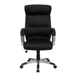 Flash Furniture - High Back Black Leather Executive Office Chair - This Black High Back Executive Office Chair features soft leather upholstery with baseball glove stitching. With built-in lumbar support, a well-padded seat and back, and padded loop arms this is sure to bring a stylish addition to your office. Chair features a silver nylon base with black caps that prevent feet from slipping.