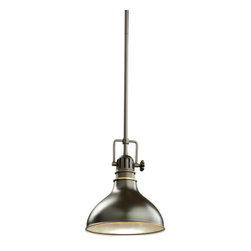 Kichler - Kichler 2664OZ Hatteras Bay Single-Bulb Indoor Pendant w/Cone-Shaped Metal Shade - Classic industrial form in a 1 light mini pendant is what you will find in this Antique Copper, Olde Bronze or Polished Nickel fixture from the Hatteras Bay collection.Product Features:
