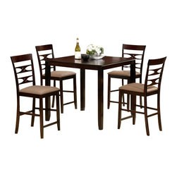 """CBDakotaPub5pc - 5-Piece Dakota Collection Espresso Finish Wood Counter Height Table Set - 5-Piece Dakota collection espresso finish wood counter height table set with designer back chairs. This set includes the table with legs and 4 side chairs with fabric seats. Table measures 40"""" x 40"""" X 36"""" H. Chairs measure 42"""" H to the back. Some assembly required."""