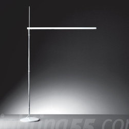 Artemide - Talak LED floor lamp - Floor standing luminaires for direct adjustable fluorescent or LED lighting. • base in painted iron; stem in chromed polished steel; body lamp in painted white thermoplastic resin • the body lamp rotates 360 ̊ on the horizontal plane and it is adjustable in height • on/off switch on body for fluorescent version • dimmer on body for LED version • U.L. listed LED light source • LED source 80 LEDs/8W supplied