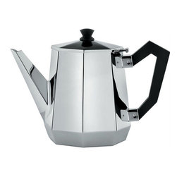 Alessi - Alessi Ottagonale Teapot - The leaves are clear: Great design is in your future. This stylish teapot is crafted of high quality, 18/10 stainless steel in a graduated octagon shape that looks like a vision of the past and the future at the same time. It features a hinged lid and black bakelite handles.