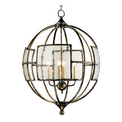 """Currey & Company - Currey & Company Broxton Orb Chandelier - Seeded glass panels lend a glimmering touch of intrigue to the industrial design of the Broxton orb chandelier by Currey and Company. In a dining room or foyer, this wrought iron lantern hangs overhead with quiet charm.  24"""" Dia x 32""""H; Wrought iron and glass; Pyrite bronze finish; Accepts four 60W candelabra bulbs (not included); Includes canopy and chainEngineered to meet rigid UL safety specifications; Hand finished."""
