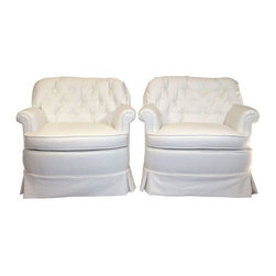 Pre-owned Hollywood Regency Tufted Club Chairs - A Pair - These chairs have it all!  Hollywood Regency at its transitional best!  These oh so cozy pillow tufted club chairs have been newly padded and reupholstered in a white cotton/linen blend.  They  can add a touch of Hollywood Glam to any room but are casually upholstered such that they can fit in just about anywhere.  Sunroom, sitting room, bed room, any room- these chairs are the perfect fit!