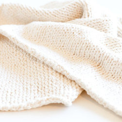Hand-knit 100 Percent Organic Cotton Baby Blanket by Karen Casey - Soft and simple, this gorgeous hand-knit, pure organic cotton blanket would be the perfect throw to wrap around baby. This fairly chunky blanket is perfect for outings in the stroller, or any time an extra layer is needed.