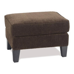 Ave Six - Sierra Welted Ottoman on Legs with Corduroy Fabric in Coffee - Corduroy coffee fabric. Solid wood legs. Extra thick cushion. Sinuous springs and spring seat. Some assembly required. 26.5 in. W x 20.5 in. L x 18 in. H