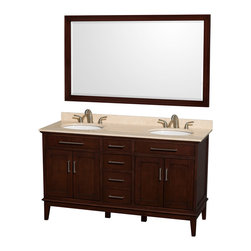 "Wyndham Collection - Hatton 60"" Dark Chestnut Double Vanity w/ Ivory Marble Top & Oval Sink - Bring a feeling of texture and depth to your bath with the gorgeous Hatton vanity series - hand finished in warm shades of Dark or Light Chestnut, with brushed chrome or optional antique bronze accents. A contemporary classic for the most discerning of customers. Available in multiple sizes and finishes."