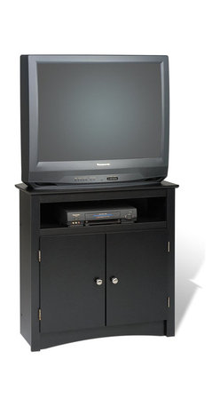 Prepac - Prepac Sonoma Tall Corner TV Stand in Black - Prepac - TV Stands - BTV3232 - This TV stand is convenient and practical. The cabinet is designed specifically with added height to allow the screen to be viewed comfortably when in bed. Contemporary in style it has simple decorative touches such as a profiled top side moldings and an arched apron.