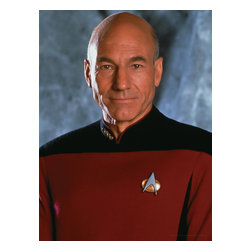 Oriental Furniture - Star Trek Captain Jean-Luc Picard Wall Art - Excellent quality full color canvas photo art print of acclaimed actor of television, film, and stage Patrick Stewart as Jean-Luc Picard, captain of the starship Enterprise from Star Trek: The Next Generation. The limited edition art print is an authentic, authorized original cast photograph reproduced using modern giclee style technology and stretched over a mitered wood frame.