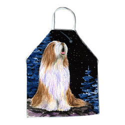Caroline's Treasures - Starry Night Bearded Collie Apron SS8467APRON - Apron, Bib Style, 27 in H x 31 in W; 100 percent  Ultra Spun Poly, White, braided nylon tie straps, sewn cloth neckband. These bib style aprons are not just for cooking - they are also great for cleaning, gardening, art projects, and other activities, too!