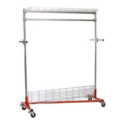 The Heritage Garment Steel Rolling Rack - The Heritage Garment Rack features top and bottom shelves in addition to the 5-foot rail for hanging items. This versatile design allows for shoe storage on the bottom shelf, hanging garment storage on the rail, and hat or sweater storage on the top shelf. This rack is also ideal for use as a combination garment and linen rack. Steering handles make this rack easy to move, while heavy-duty, non-marking, gray soft rubber casters roll smoothly and will stand up to heavy loads without scuffing your floor. Five-inch revolving rubber bumpers will also protect your walls when moving this rack. Sturdy, 1.3-inch tubular steel bars hold up to 500 pounds. Uprights and hang rails have a durable galvanized plated finish, while the base boasts a powder-coat finish. A unique, Z-shaped base lets you nest empty racks to save space; 12 racks will tuck neatly into a space as small as 7 x 4.5 feet. About Quality FabricatorsFamous for their innovative Z-Rack garment rack design, Quality Fabricators has 25 years of experience creating strong, quality racks to address your merchandise handling requirements. Z-Racks feature Z-shaped bases that nest together for easy, compact storage when not in use. Based in Kennesaw, GA, Quality Fabricators guarantees prompt delivery and excellent customer service. By providing organization on wheels, the company satisfies the equipment needs of the apparel retail, distribution, manufacturing, and fabric care industries.