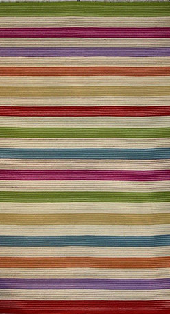 Individual - A 9'x12' Stripe Design Flat Weave Rug/Colorful Stripe Kilim Rug - This is an authentic handmade rug. This is a gorgeous multi color stripe design flat weave  or Kilim area rug. It was hand knotted in India, measures 9' x 12 and is made of wool on cotton foundation. Best of all is offered at trade value, which is a dealer to dealer price of $999.00.
