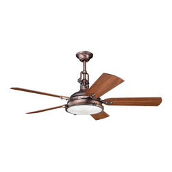 """DECORATIVE FANS - DECORATIVE FANS Hatteras Bay 56"""" Transitional Ceiling Fan X-BBO810003 - This Kichler Lighting ceiling fan from the Hatteras Bay Collection features a trendy Fresnel lens glass shade held by an industrial styled base finished in an Oil Brushed Bronze and completed with reversible walnut/cherry fan blades."""