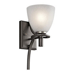 Kichler Lighting - Kichler Lighting Neillo Transitional Wall Sconce X-IVA03034 - This 1 light wall sconce from the Neillo collection balances a deep, textured anvil iron finish with brushed nickel accents and textured feather glass shades. The arm softly curves around the stem of the globe, creating a light and airy effect. May be installed with the glass up or down.