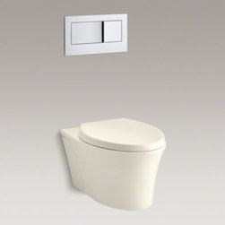 KOHLER - KOHLER Veil(TM) wall-hung elongated toilet bowl - The Veil wall-hung toilet saves up to 12 inches of precious bathroom space over KOHLER's longest floor-mount models. The mounting hardware is completely concealed, giving Veil a sleek, seamless look that is incredibly easy to clean.