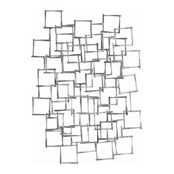 Arteriors - Ecko Wall Sculpture - In your contemporary space, this wall sculpture will have you seeing double, maybe even triple as you try to decipher the layered, open iron squares. They're joined together by touches of darker iron to add depth and contrast. Hang vertically or horizontally.