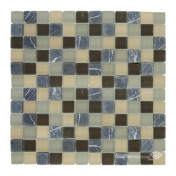 "Glass Tile Oasis - Stone Blend 1"" x 1"" Brown Crystile Blends Frosted Glass and Stone - Our Crystile Series offers a wide range of hues to suit your mood and your style! The vibrancy and depth of our crisp, smooth glass results in a unique and dramatic effect for use in both residential and commercial installations."