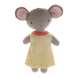 Kata Golda - Stuffed Companion - Mouse, Girl - Kata Golda's Stuffed Companions make adorable playtime and cuddle pals. Hand-stitched with cotton thread and soft, hand-dyed wool felt, their hand-embroidered details make each one unique.Care: Gently spot wash with cold water by hand. Detergents can cause the wool to fade, so use caution and test in an inconspicuous area first.  Do not place items in the dryer; they will shrink.