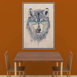 My Wonderful Walls - Wolf Art Decal Sticker – Dinnertime by Balázs Solti, X-Large - - Product: hungry wolf licking lips - wall art sticker decal