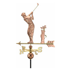 G.D. - Good Directions Golfer Weathervane - Polished Copper - The addictive sport may have originated in Scotland, but this golfer is ready to tee off over the rooftop of your house, barn, garage, or cupola. Our Good Directions' artisans use Old World techniques to handcraft this fully functional, standard-size weathervane that's unsurpassed in style, quality and durability. A great gift for golf enthusiasts!