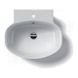 "WS Bath Collections - LVO 21.2"" x 18.3"" Ceramic Bathroom Sink - LVO 54W by WS Bath Collections, Bathroom Ceramic Washbasin/ Sink, 21.2 x 18.3 Wall-Mount or Countertop Installation, with or without Faucet Hole, with Overflow, Recommended Drain: Linea 53995, Decorative Trap: Linea 53922, Made in Italy"