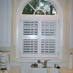 The Louver Shop - Shutters - Plantation shutters over a sink in the kitchen