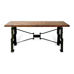 Kathy Kuo Home - Oliver 'A Frame' Industrial Reclaimed Wood Cast Iron Long Desk - Elevate your office space with this gorgeous industrial A-frame desk crafted from reclaimed cast iron and topped with solid oak.  Tough and durable, this desk can handle a few ink blots and more than a couple piles of papers. Taking superior craftsmanship to a whole new level, this piece sings a rhapsody of warm tones and textures - the perfect compliment to an industrial loft space, whether it be in the office or at home. Enjoy a one year warranty on this piece.