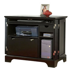 Home Styles - Home Styles Bedford Compact Office Cabinet in Ebony - Home Styles - Storage Cabinets - 553119 - Close up this compact home office cabinet and you've got a stunning piece of furniture to grace any room!