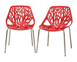 Baxton Studio - Baxton Studio Birch Sapling Red Plastic Modern Dining Chair (Set of 2) - This forest chair lends a modern touch of the beauty of a small grove of trees to your home. The intricate cut-out design is ideal around a minimalist dining table or simply as a standalone chair in an entryway or extra room. It is constructed with a sturdy watermelon red molded plastic seat atop a steel frame with a shiny silver chrome finish. Black non-marking feet finish off the chair. This chair is stackable, and assembly is required.