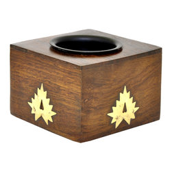 SouvNear - SouvNear Small Wooden Tealight Holder Tree Branch Design, Brown, Abstract - * Cube shaped tealight candle holder, handmade in solid rosewood - good for a lifetime