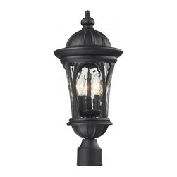 Three Light Black Water Glass Post Light - Traditional and timeless, this medium outdoor post head fixture combines black cast aluminum hardware with clear water glass for a classic look.