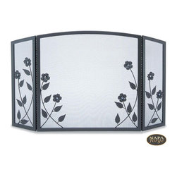 Forged Floral Tri Panel Screen in Black - This best-selling screen from Napa Forge features beautiful, glass-accented floral designs.