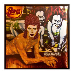 """Glittered David Bowie Diamond Dogs Album - Glittered record album. Album is framed in a black 12x12"""" square frame with front and back cover and clips holding the record in place on the back. Album covers are original vintage covers."""