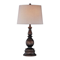 "Lite Source - Traditional Lite Source Bronze Traditional Turned Table Lamp - This classic style makes one feel comfortable and warm. The deep bronze finish is matched with a linen shade. From the Lite Source lighting collection. Takes one 150 watt three-way bulb (not included). 30 1/2"" high. 15 1/2"" wide. Shade is 13"" across top 15 1/2"" across bottom and 11"" on slant.  Bronze finish.  Lite Source table lamp design.  Takes one 150 watt three-way bulb (not included).  30 1/2"" high.  Shade is 13"" across top 15 1/2"" across bottom and 11"" on slant."