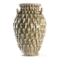 Kathy Kuo Home - Amphora Textured French Country Urn Vase - A beautiful combination of texture and materials, crafted into a striking ceramic vase make this a standout addition to any room.  Incorporating wheel and hand construction techniques, this earthy grey glazed piece evokes ancient worlds and the beauty of handcrafted eclecticism.