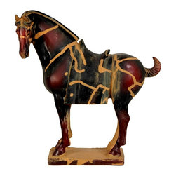 Oriental Unlimted - 13 in. High Chinese Tang Tomb Horse Statue - Our beautifully crafted version of a classic Chinese Tang horse is a reproduction of a ceramic Tang dynasty era reliquary statue recovered from an archeological dig in Xian, China. Horses had huge practical importance and symbolic importance in ancient China. A classically proportioned, powerful stallion, fitted with the simple Tang dynasty era saddle without bridle or bit. Stunning, classically proportioned, powerful Tang dynasty style stallion statue. Beautifully cast, heavy black resin reproduction of a Xian Tomb reliquary figure. Authentically detailed casting, with period accurate saddle and clipped tail. Distinctive Asian decorative accent and unique home decor gift idea. Finished in a remarkable, deep burgundy color, with lovely antiqued sand patina. Cast from heavy black resin in distinctive, authentic detail. 12 in. W x 4 in. D x 13 in. HThe horse has been revered from ancient times wherever they are found, for their great strength, their remarkable intelligence and spirit and their extraordinary beauty. Tang dynasty China was an equestrian culture. The ceramic horse statues Tang imperial artists crafted are considered by Asian art historians to be among the most beautiful representations of these noble creatures ever produced. We believe our Tang horse statue is a particularly lovely design, following the ancient traditions of proportion and finish of the times. This statue placed in a living room, study or office can provide a unique Asian art accent, as well as an element of noble spirit these creatures embody.