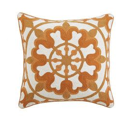 Floral Crewelwork Pillow Cover - Orange - In the Indian state of Kerala, the residents celebrate Onam for about two months to welcome the presence of the spirit of King Mahabali. They make round, elaborate, colorful rugs called pookalams, created entirely out of flowers. They truly are a sight to behold. Our floral pillow reminds us of this tradition in Kerala. The embroidery is done in a crewel stitch with wool thread. Sometimes it is good to remember that beautiful things can be made with dedication and passion.