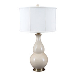 Oriental Danny - Cream crackle porcelain lamp - Hand made porcelain lamp with bronze ormolu. Subtle cream crackle glazed. This statement lamp is dressed with silk lamp shade. 100 watt, 3-way switch, UL listed.