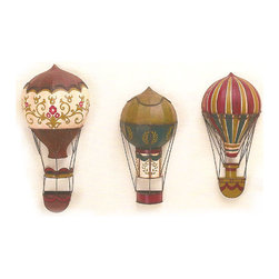"""Antique Reproduction French Wall Balloons - These tole wall balloons are antique reproductions handcrafted and hand painted to resemble pieces from the 18th century. The small has a laurel leaf pattern, the medium is multi-striped, and the large is has a floral scroll. Dimensions: (Sm) 8""""w x 4.25""""d x 16.5""""h (Md) 8""""w x 4.5""""d x 17.75""""h (Lg) 9.25""""w x 4.75""""d x 20.5""""h"""