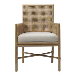 Square Back Caned Arm Chair: M-421 - The Square Back Caned Arm Chair iproportion and texture.  With an architectural shape, enhanced by the comfort of classic honey-comb caning, the design and materials are elevated to fit in both transitional and modern spaces.  It works well on its own or in multiples with the Square Back Caned Side Chair. It has a loose seat cushion; the cover is easily removed for cleaning and zips along the bottom to hide it from view. Comes in Pecan or Black Bamboo finish; comes standard with Natural Linen or Ivory Linen cushion.