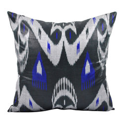 "Moon Dance - 19"" Ikat Pillow Cover - P-A111-1AA3 - From contemporary, modern, to traditional interiors, this Ikat pillow will jazz up your space  Made from black, blue, and gray hand woven Ikat fabric. Check out our Facebook and Pinterest pages for examples of Ikat pillows placed in rooms featured in Elle Decor, Vogue, and other magazines."