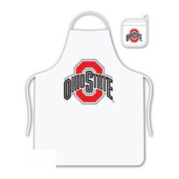 Sports Coverage - Ohio State Buckeyes Tailgate Apron and Mitt Set - Set includes your favorite collegiate Ohio State University Buckeyes screen printed logo apron and insulated cooking mitt. White apron with white silver backed mitt. Both items are logoed. Tailgate Kit apron and mit is 100% cotton twill with screenprinted logo.